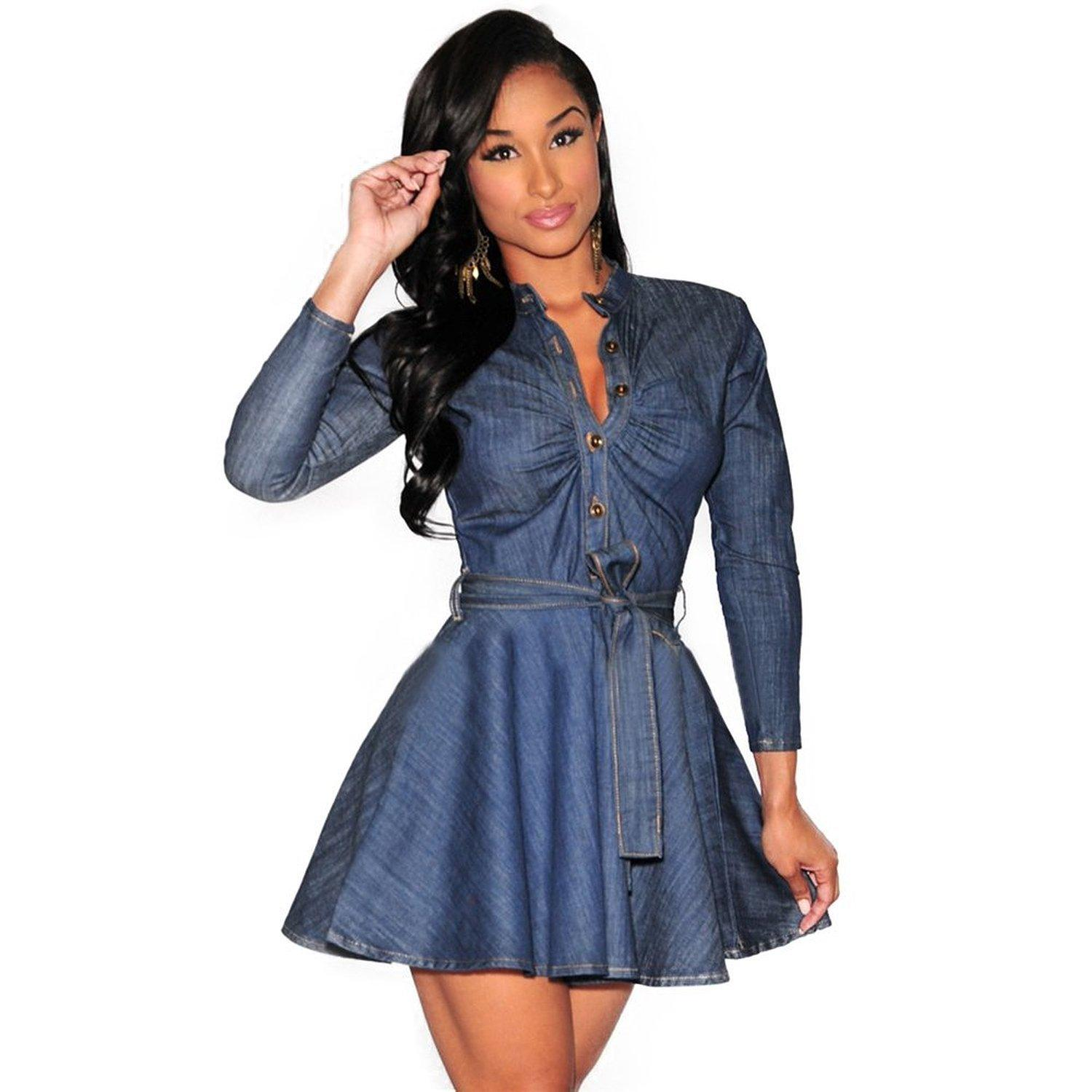 Womens Fitted Denim Dress With Perfect Photos – playzoa.com