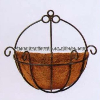 Wall Hanging Basket country primitive wall hanging wire flower basket with coconut