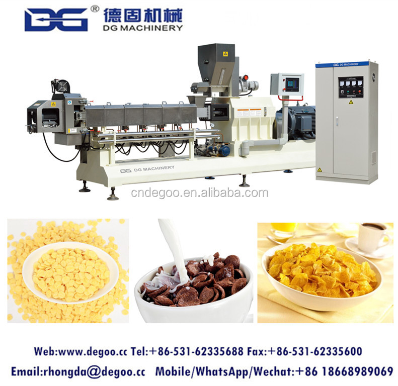 Low cost corn flakes processing plant puff cereal extrusion machine