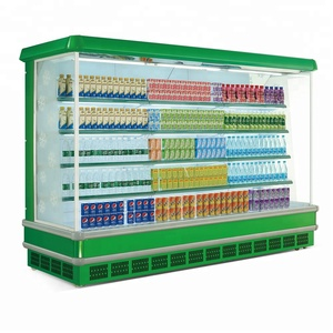 2meter commercial cold drink showcase supermarket open display refrigerator