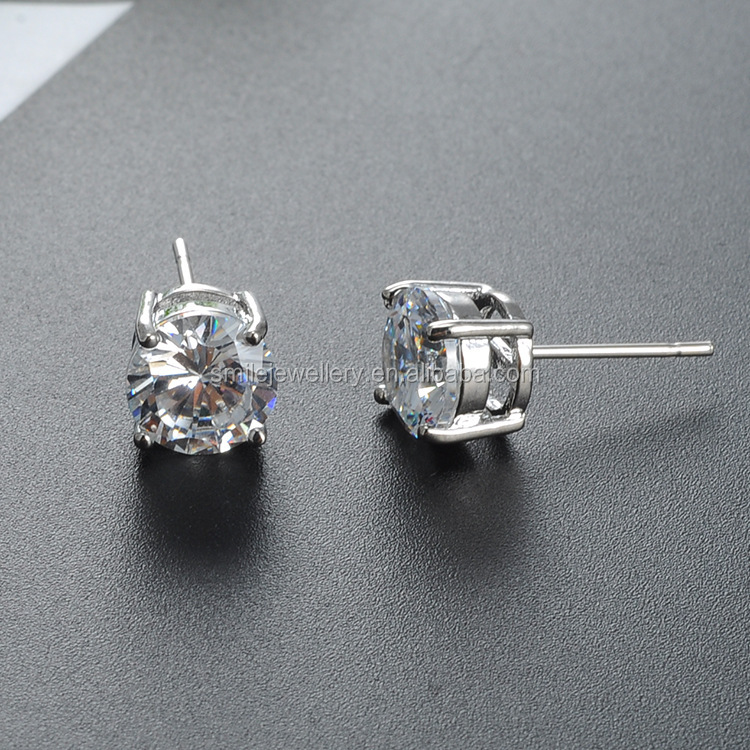 simple stud earrings for women men round small zircon earrings cz diamond jewelry