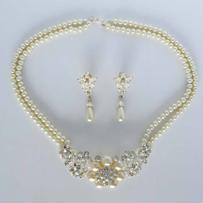 Cheap Pearl Necklace Sets: Big Discount Wedding Jewelry Sets Bride Accessories