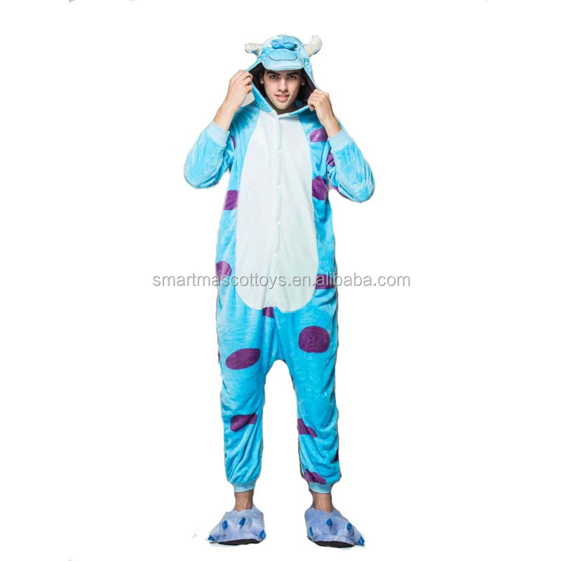 Custom adult onesie Sully animal onesie Pijamas 100% Polyester flannel wholesale adult onesie