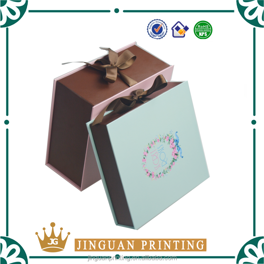 New fashion style full color cardboard packaging ribbon gift paper box