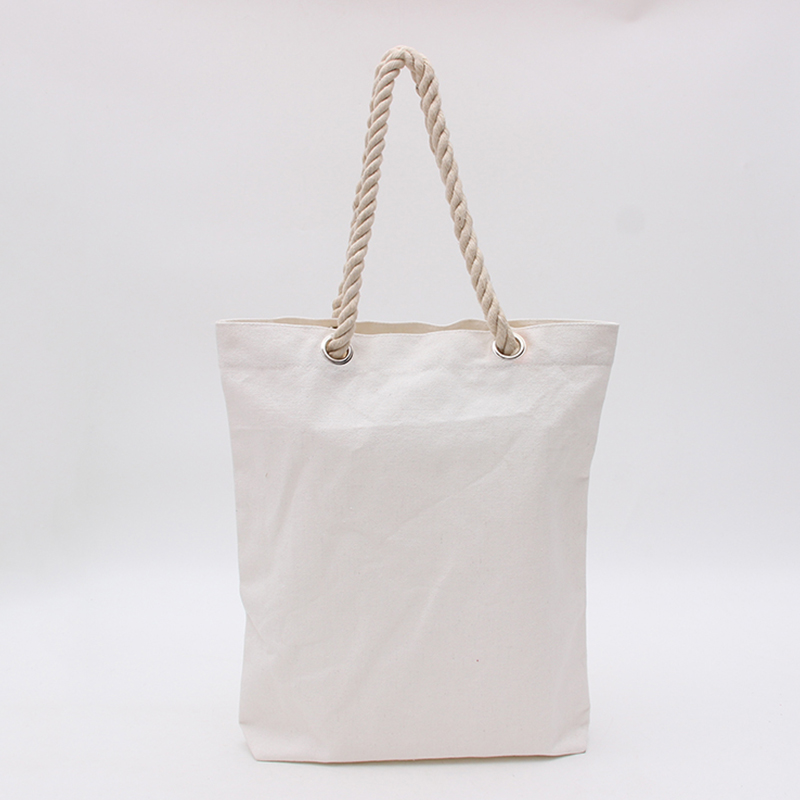 customized blank natural white cotton canvas <strong>tote</strong> shoulder bag with string rope handle strap