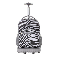 Kids trolley school bag, offset printed zebra horse pattern children roller wheeled luggage backpack back pack rucksack daypack