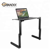 Adjustable Standing Laptop Desk Stand Table Portable Aluminum Lap Riser Holder with Dual-cooling Fans for Bed Couch Sofa