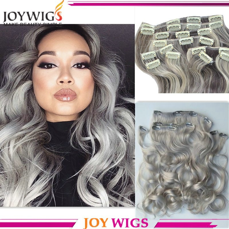 Wholesale Clip In Hair Extension Grey Color Cheap 100 Brazilian