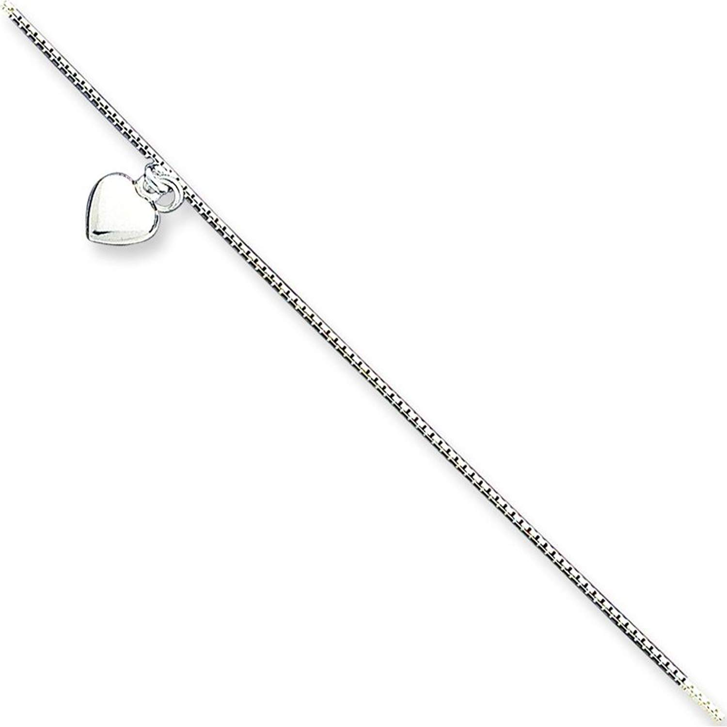 Finejewelers Sterling Silver 10 inch Polished Hearts Anklet Adjustable To 9