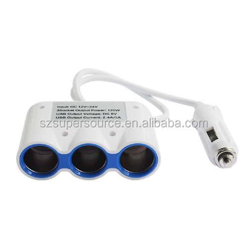 3-Way 12V Automotive Socket Extender car lighter socket