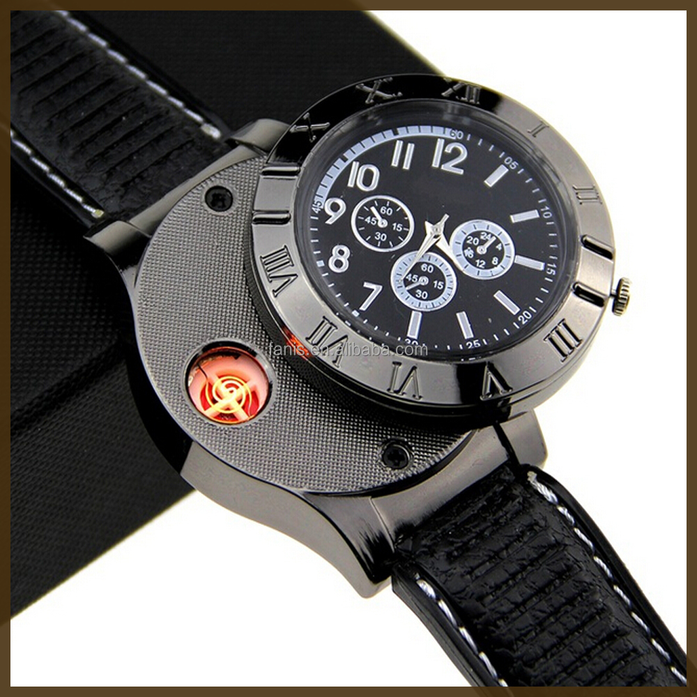 Hot sales new desgin wrist watch with USB lighter