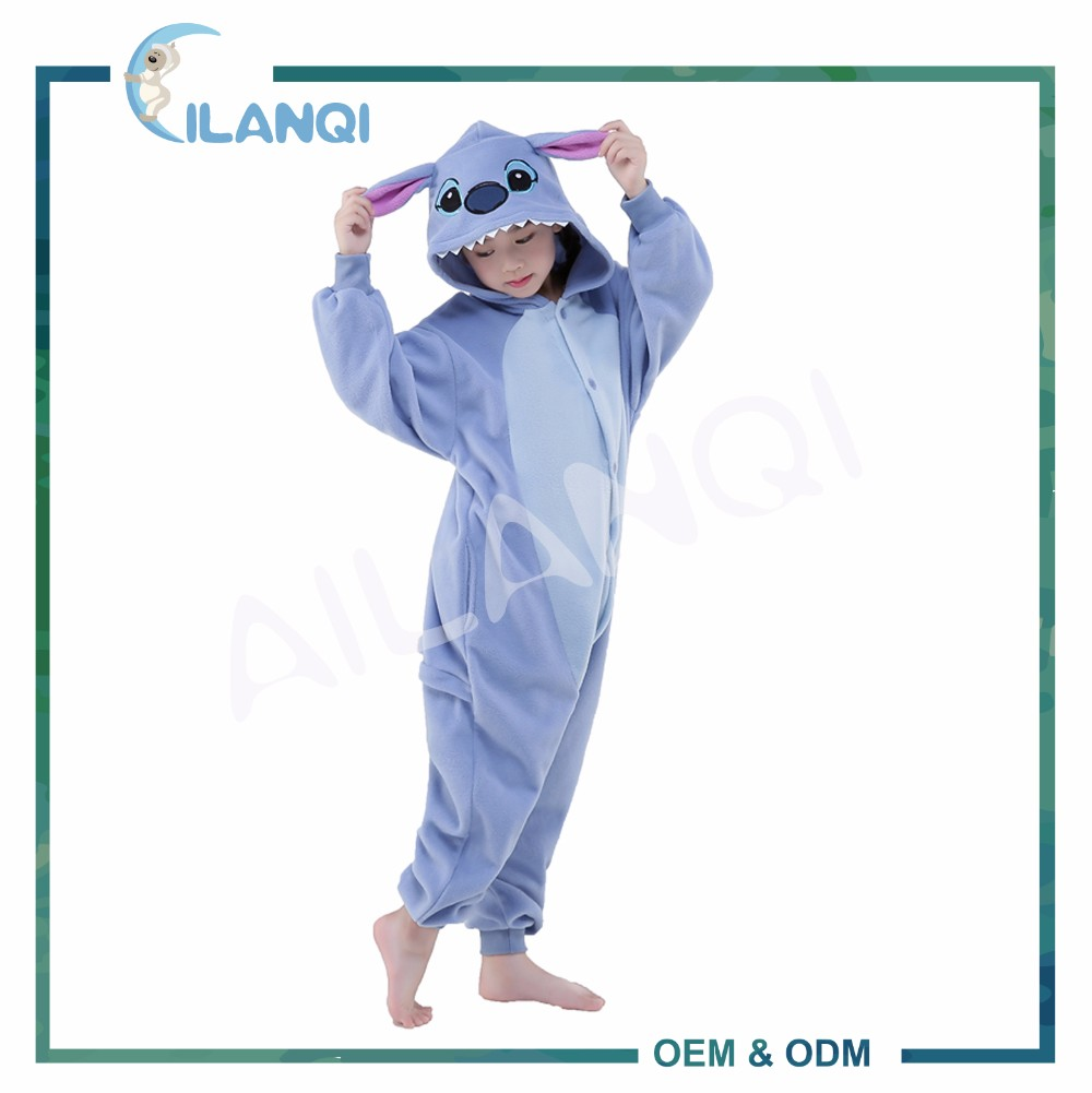 ALQ-C020 Animal pattern costume kids warm wholesale overall pyjamas