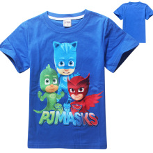 (2-7Y) Children's T-Shirt 2016 PJ MASKS Spring New O-Neck Short Sleeve Girls T-Shirt Cartoon Cotton Kids Boys Clothes