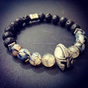 Lava Natural Stone Energy Buddha Bracelet for Men