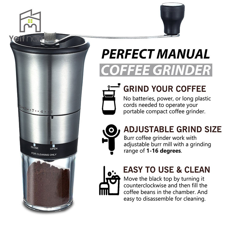 Portable Home Adjustable Ceramic Conical Burr Mill Hand Manual Coffee Grinder For Sale