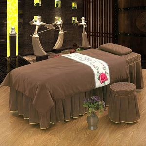 Whole sale high quality 100% cotton beauty salon bed sets massage bed sets spa facial bed