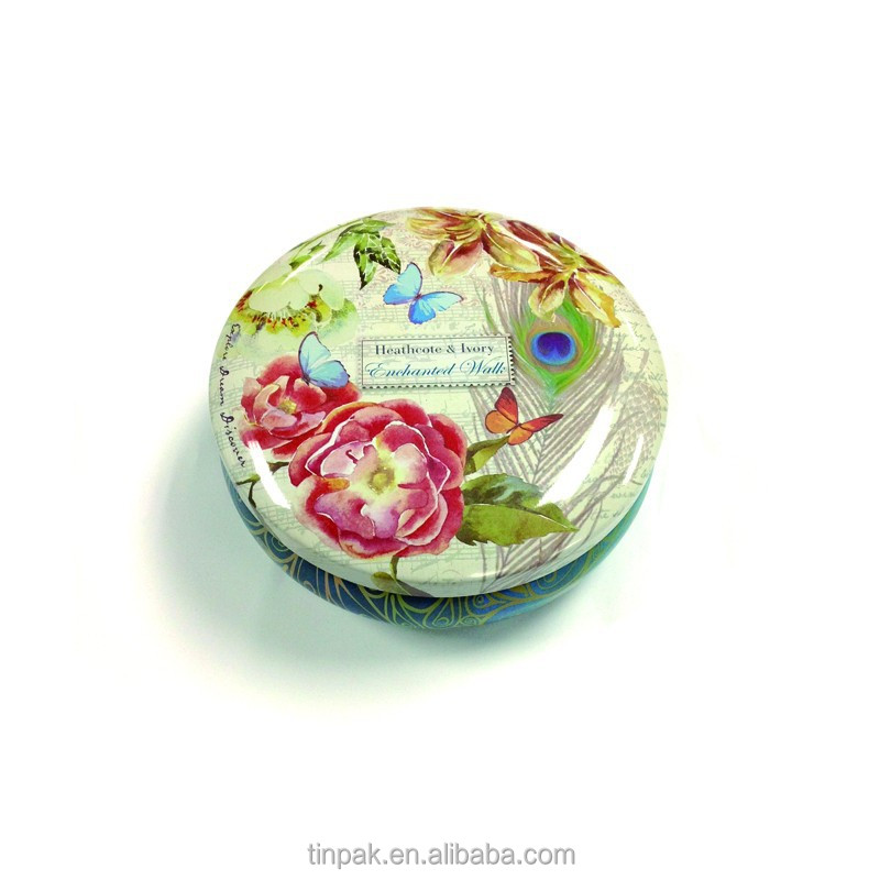 round cosmetic packing tin blush box