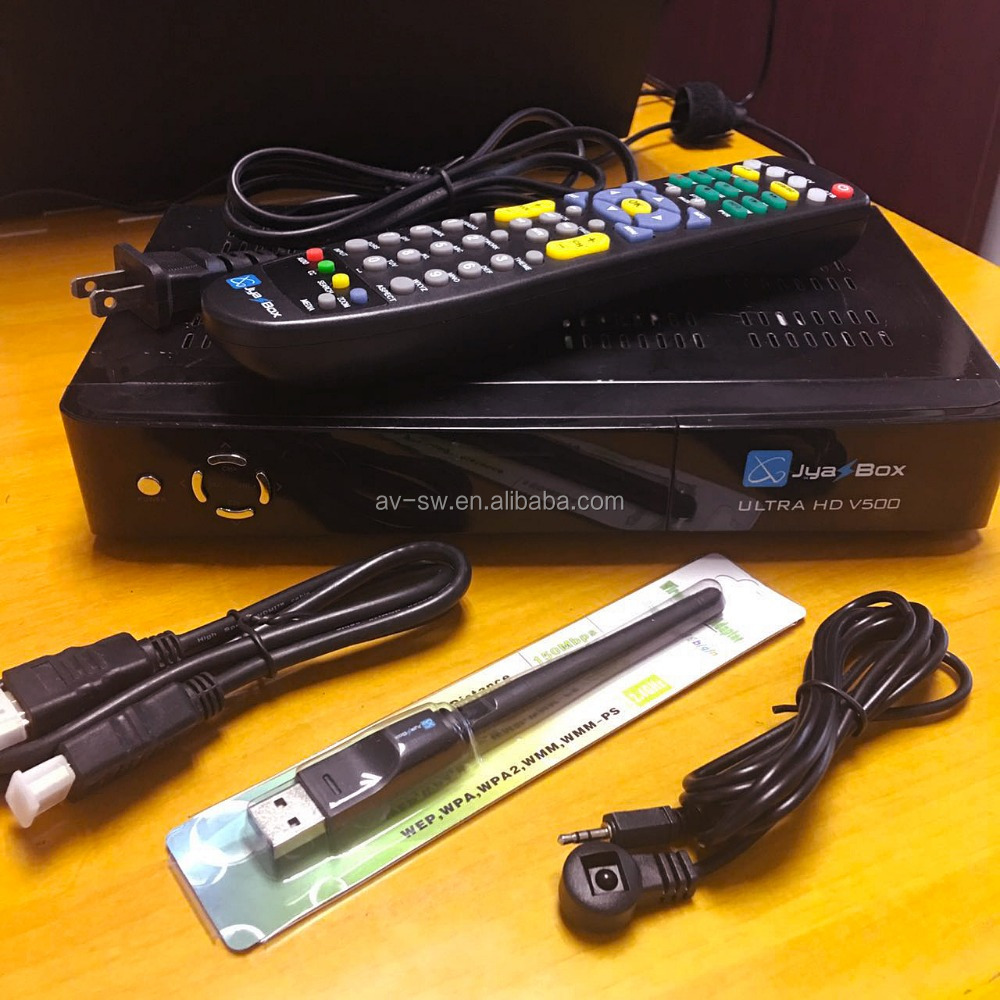 digital satellite receiver jyazbox ultra hd V500 with jb200 turbo 8psk module and wifi universal remote control iks receptor