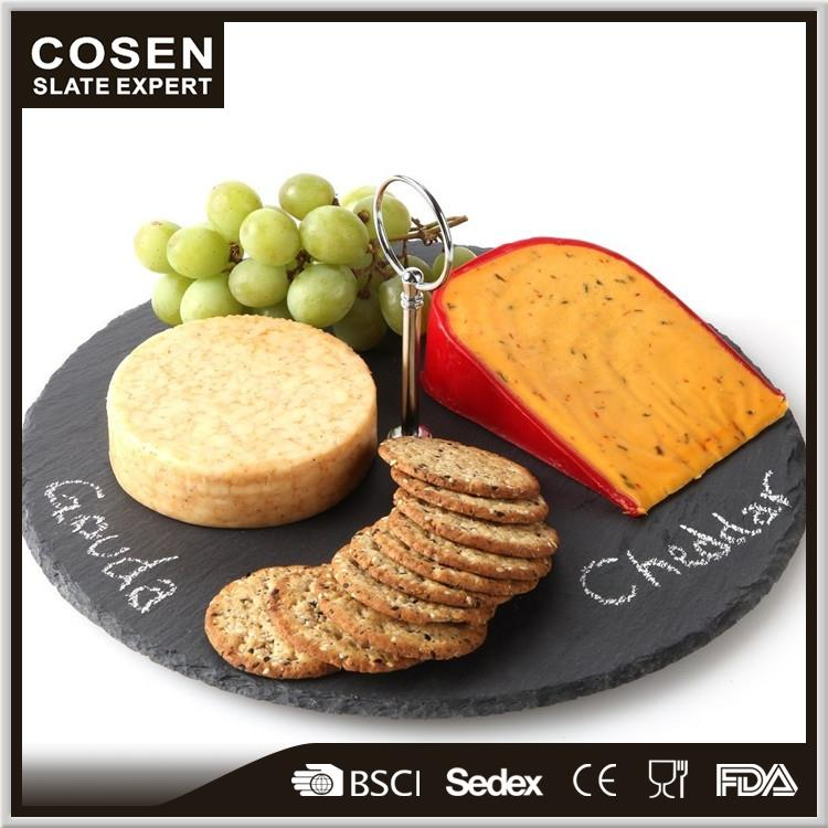 COSEN 30cm Diam Round Slate Board, Cake/Cheese/Tapas Presentation Serving plate with Carrying Handles