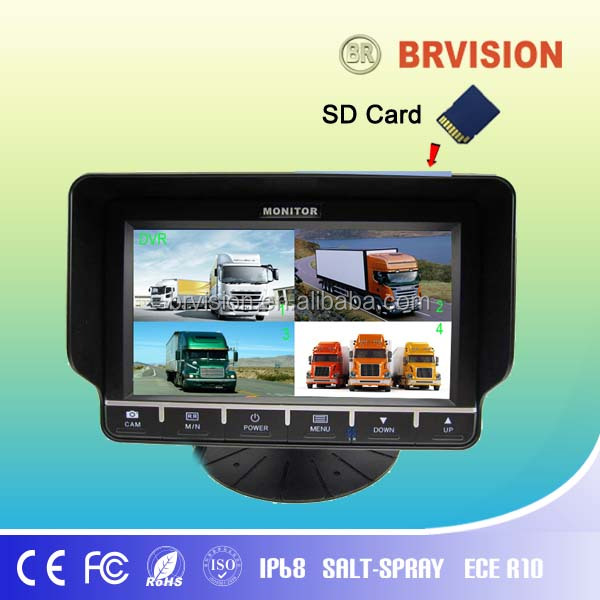 New quad display car lcd monitor 7 inch car tft lcd monitor with dvr recorder