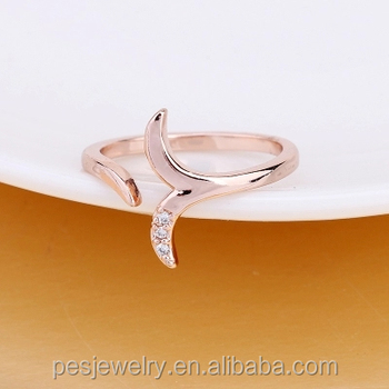 PES Fashion Jewelry! Simple Line Design Tail Of Mermaid Three Pieces CZ Topaz Open Ring (PES6-1862)