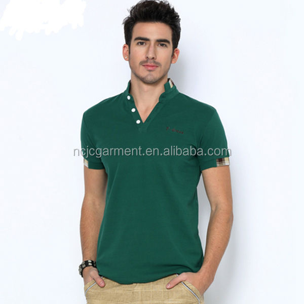95% cotton 5% spandex mens polo shirt breathable natural flavor splicing sleeve seiko embroidery of brand design