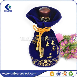 High end drawstring velvet wine pouch with beads from china supplier