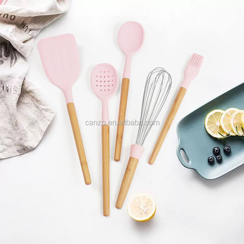 New Design Kitchen Tools With Bamboo Handle 6PCS Silicone Kitchen Utensil Set
