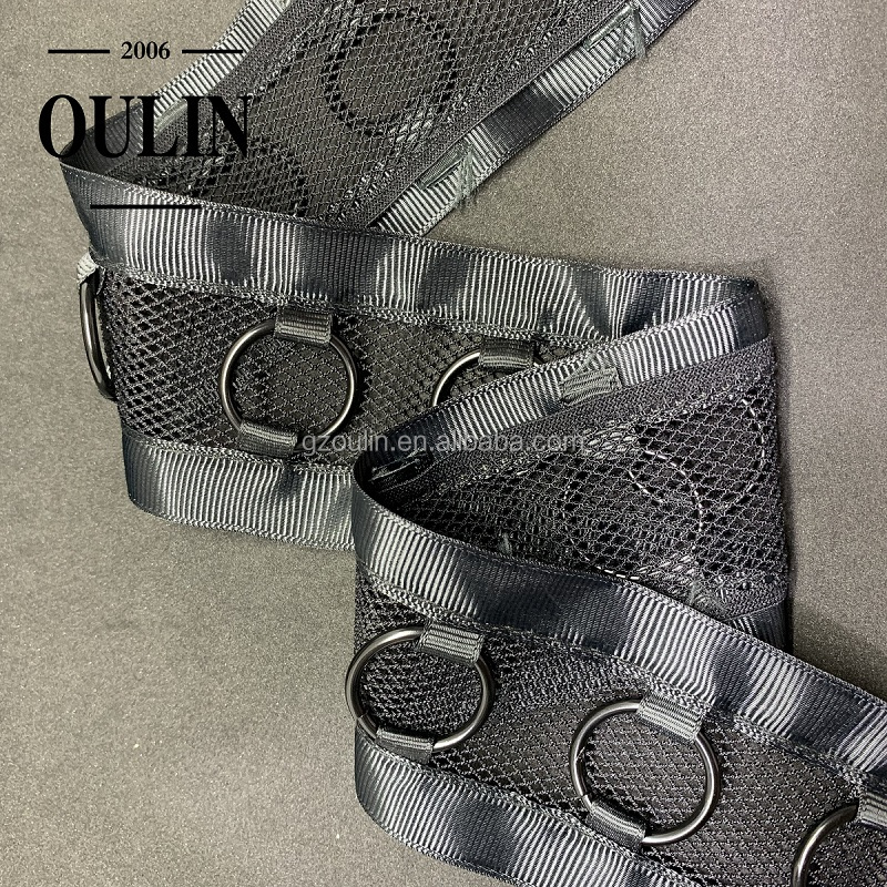 Factory direct sell mesh ribbon with gun color buckle decorative metal ribbon for garment accessories