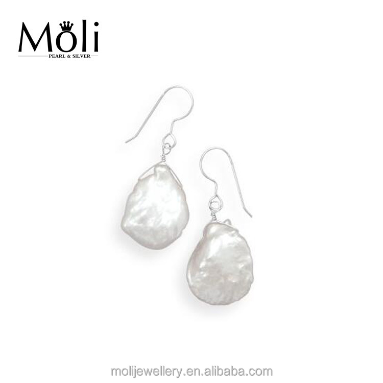 Fashion Style 1.5*2cm Big White Freshwater Baroque Pearls Sterling Silver Fish Wire Hook Drop Earrings