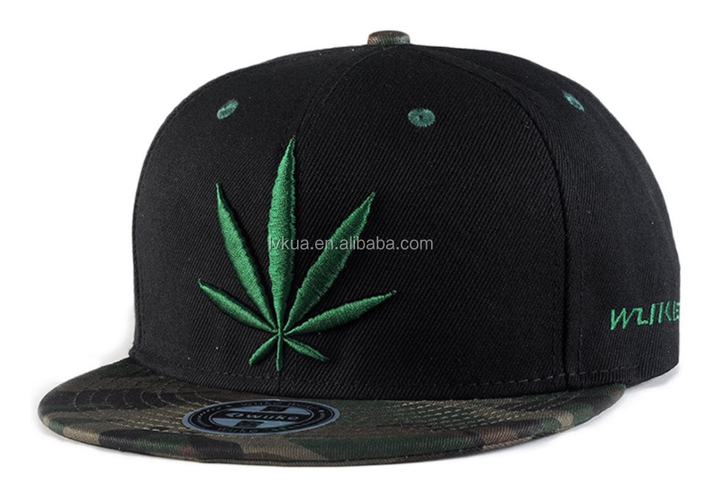 Hip hop reggae cap hemp fimble leaf embroidered cap