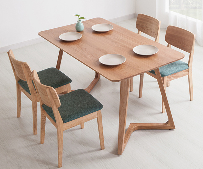 Northern Europe creative leisure solid wood V shape dining table