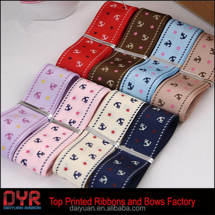 Grosgrain Ribbon fitas de cetim Ruban for Hairbows Accessories Wedding Decoration Anchor Printed Ribbon