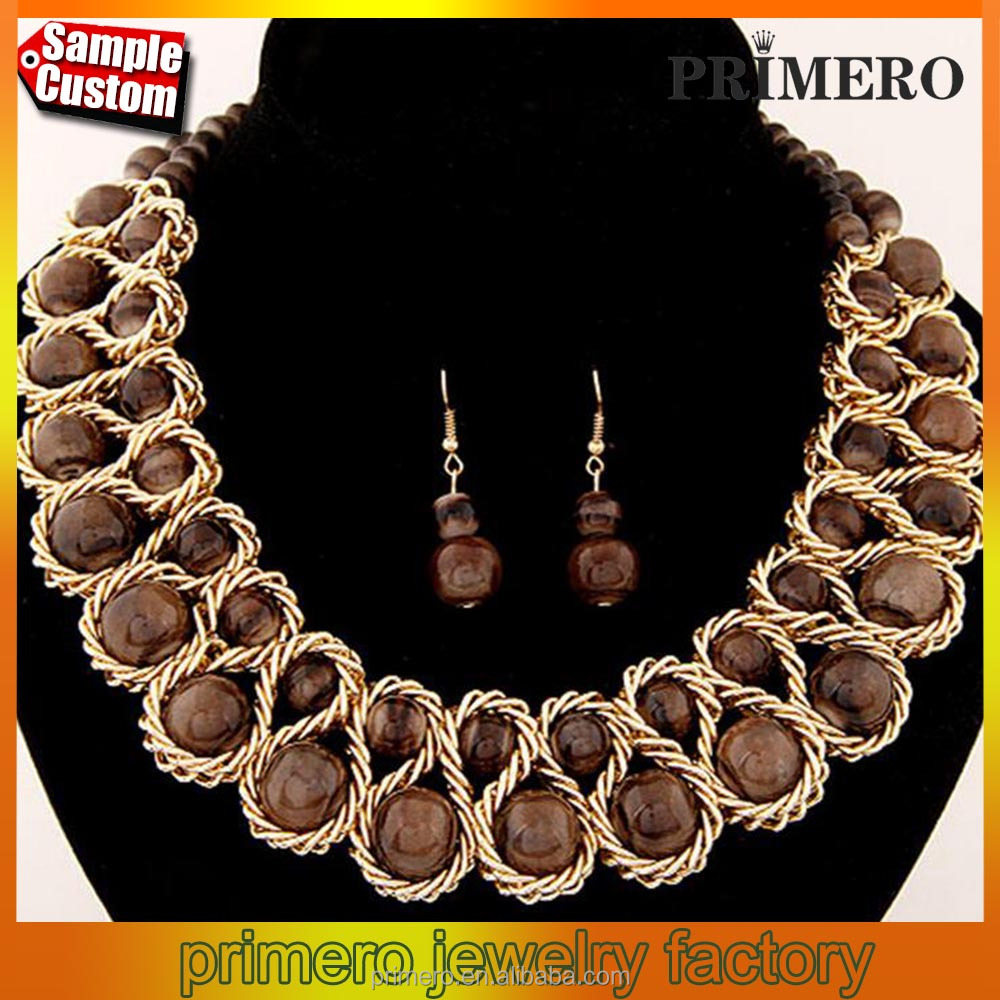 Fashion bridal collar gold chain big double crystal bead choker pendants statement necklace set
