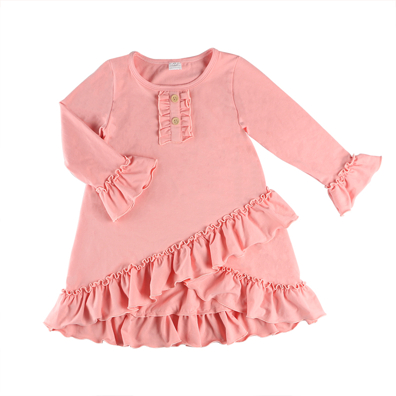 New <strong>design</strong> <strong>girls</strong> long sleeve ruffle dress icing dress for spring
