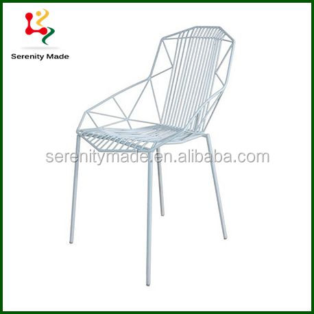 Wire Mesh Outdoor Metal Bistro Chair Replica Restaurant Chair with White Powder Coating
