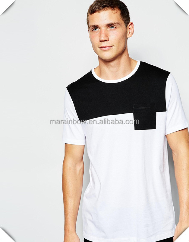 best selling wholesale bulk men's streetwear clothing hip hop tee with leather chest pocket
