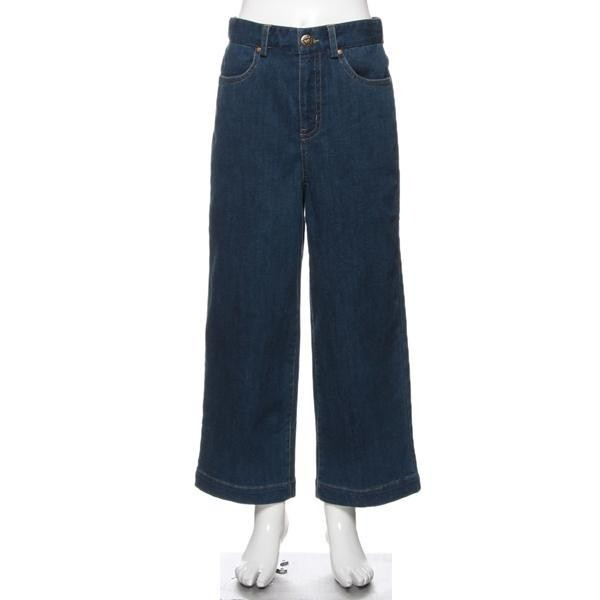 girl woven In the waist The cowboy Wide-legged pants The pocket embroidery letters at all seasons style