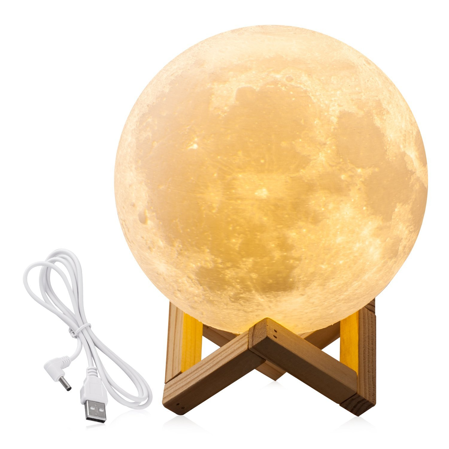 7.1INCHS CPLA Lighting Night Light LED 3D Printing Moon Lamp, Lunar Lamp Warm and Cool White Dimmable Touch Control Brightness w
