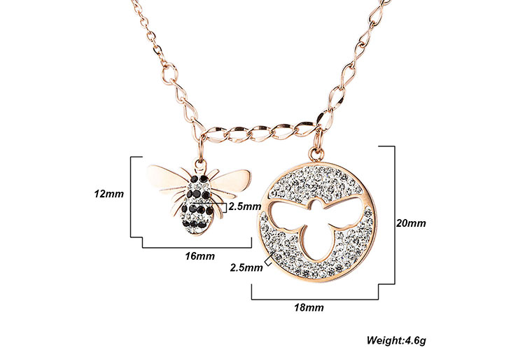 Marlary Custom Design Jewelry Stainless Steel Handmade Honeybee Cz Woman Accessory Necklace