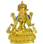 Colourful spraying green tara brass buddha statue