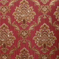 Classic flower pvc glitter luxury wallpaper