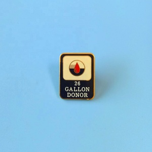 26 gallon donor metal gold lapel pins for company; custom soft enamel logo with epoxy badge