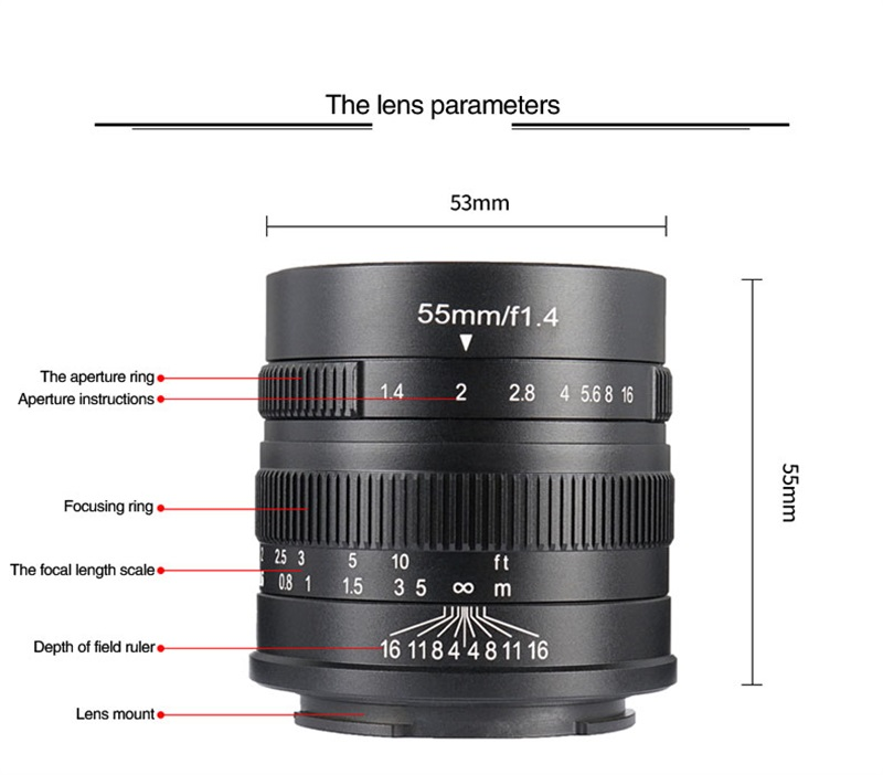 7artisans 55mm F1.4 Large Aperture Portrait Manual Focus Micro Camera Lens Fit for EOS-M E FX M43 Mount DSLR Cameras
