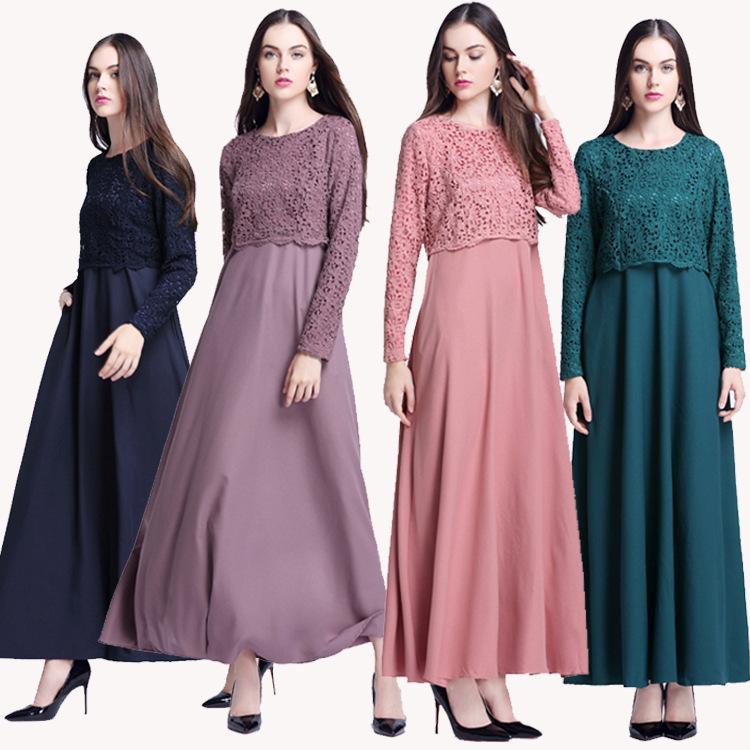 Latest Design Malaysia Women Long Chiffon Muslim Dress Islamic Clothing Abaya Dress With Free Shipping фото