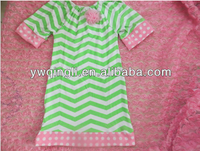 baby clothes wholesale price Sweet design cotton half sleeve light green with white chevron dress
