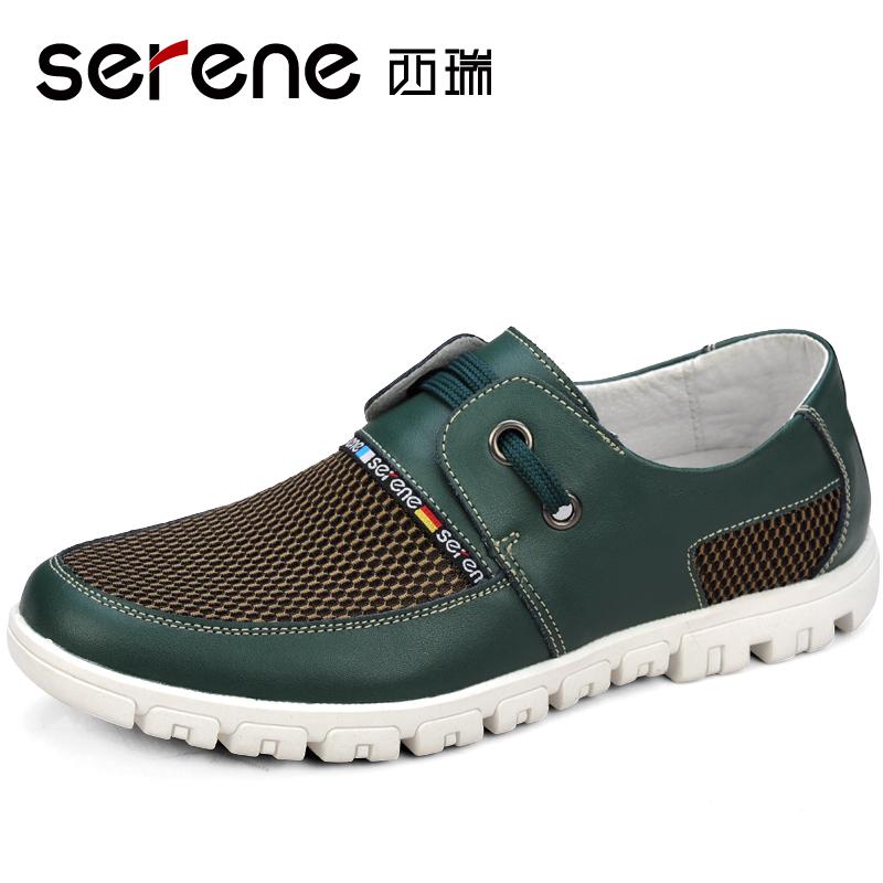 Летом ежедневно свободного покроя из натуральной кожи дышащей обуви марли вырез мода тенденция в мужские дышащий удобные