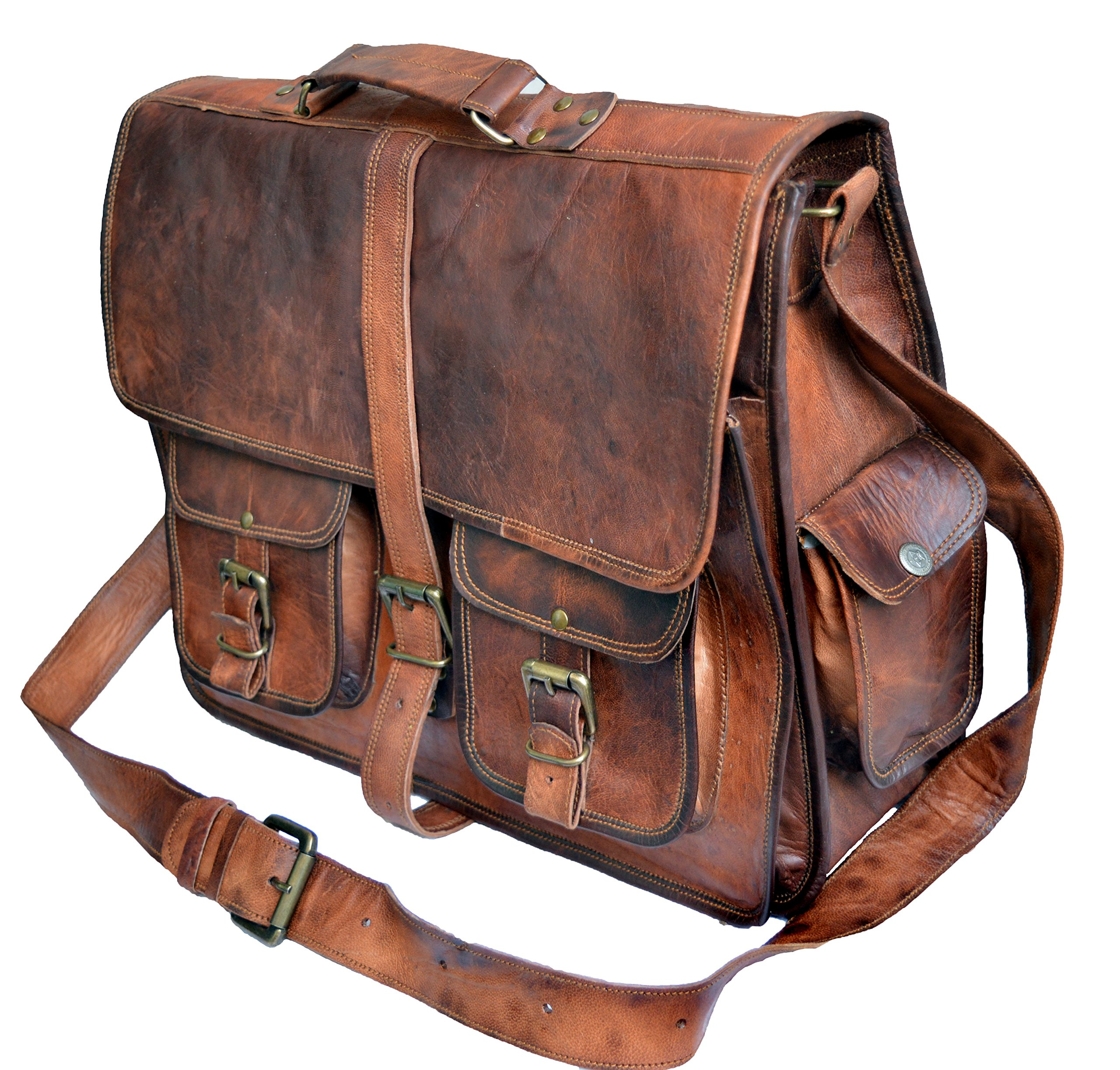 Get Quotations · Jaald Mens Genuine Leather Large Laptop Bag Messanger Bag  for Upto 15.6