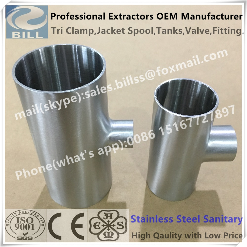 3A/SMS/DIN Standard Mirror Polished Stainless Steel Sanitary Reducing Welded Tee