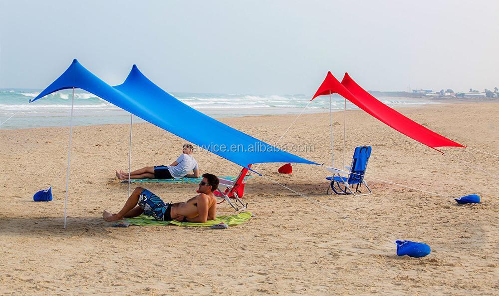 Outdoor Lightweight Sun Shade Beach Tent Canopy Lycra Sandbag Anchors Ultralight Shelter